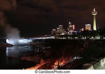 Niagara Falls - City Night - Niagara Falls City Landscape at...