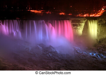 Rainbow Light - Niagara Falls - Niagara Falls at Night -...