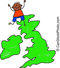 uk kid - happy little ethnic boy standing on a map of the...
