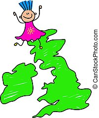 uk kid - a happy little caucasian girl standing on a map of...