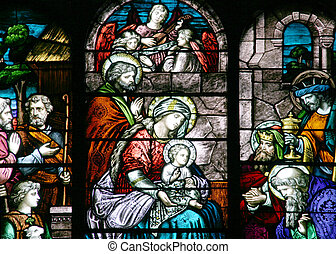 Stained Glass - Nativity Scene - Close-up on a church...