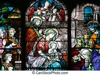 manchado, vidrio, -, natividad, escena