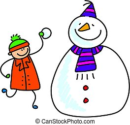 snowman kid - little boy adding a bit more snow to his happy...