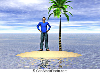 Castaway - A lone man on an island. Image depicting the...