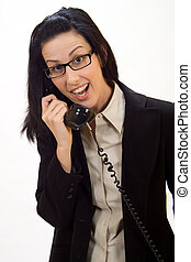 Surprise Phone Call - Woman holding an old school phone...