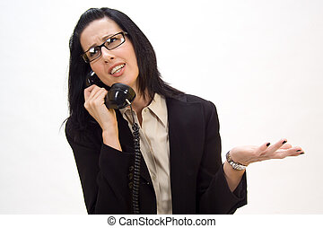 Phone Argument - Woman holding an old school phone arguing