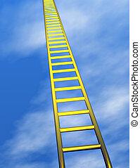 Ladder - A golden ladder climbing into a blue sky