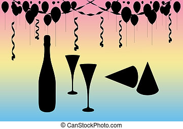 Celebration Party - Balloons, streamers, hats, a champagne...