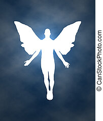 Night Sky Angel - Cloudy night time sky with a white angel...