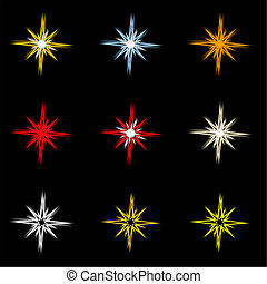 Nine Stars - Nine holiday stars on black background.