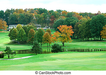 Golf Course - The beauty of a golf course in autumn