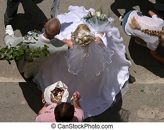 wedding - Bride in white gown and bridegroom