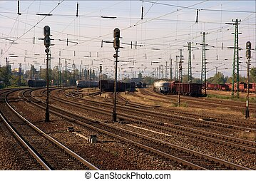 Railway System - Railwa tracks and freight trains