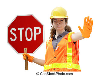 Traffic Directing Stop Isolated - A female construction...
