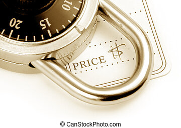 price tag and lock, the concept of locked price