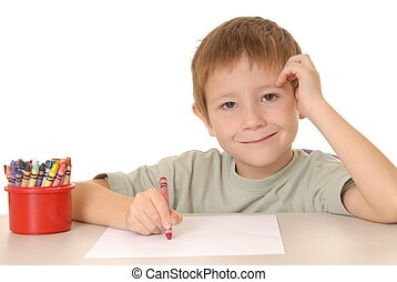Crayon Boy 2 - Young Boy coloring a sheet of paper with a...