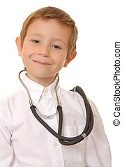 Doctor Boy - Young boy playing doctor wearing a stethoscope