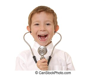 Doctor Boy 5 - Young boy playing doctor wearing a...