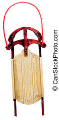 Sled Ornament - Christmas tree ornament snow sled with...
