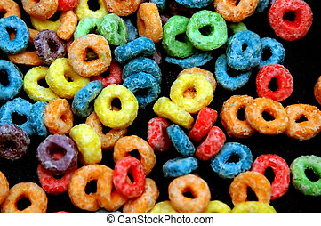 Fruit Loops - Close up shot of a kid cereals