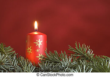 candle - red candle with branch infront and red background