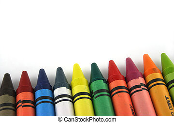 line of crayons - A line of crayons forming a bar chart
