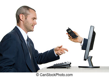 Telephone - man in blue suit in office taking an internet...