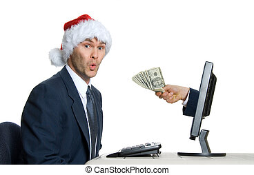 X-mas $ - happy man in office getting pay bonus