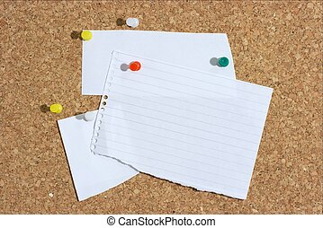 Pinboard - Pieces of with paper pinned to a board. You can...