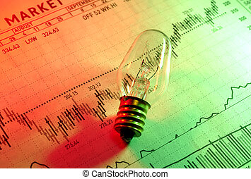 Investment Ideas - Photo of a Light BUlb on a Stock Chart...
