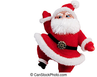 Santa Steps Up - Flocked Santa Claus Christmas tree ornament...