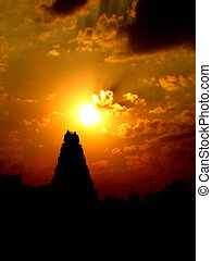 Sunset Temple - The sun sets behind a temple in India
