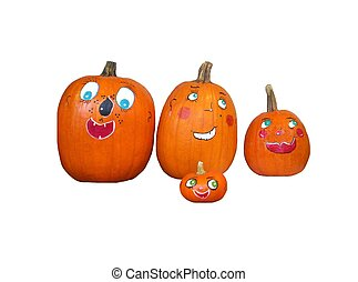 halloween pumpkins on white background