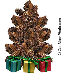 Pinecone Tree - a tree made out of pine cones on a white...