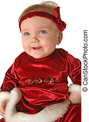 Christmas baby portrait - happy baby in Christmas clothing...