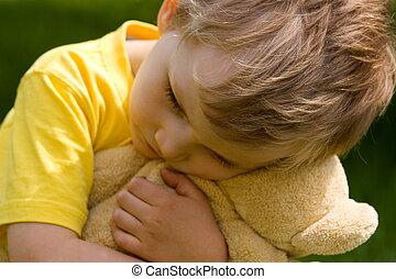Sad boy - Boy with bear