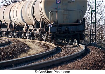 Train - Freight train passing by in a bend