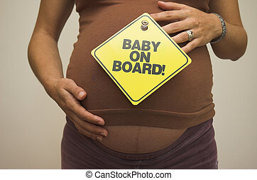 Baby on Board! - Heavily pregnant woman ready with her...