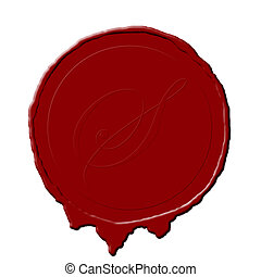 seal - a red wax seal for a document or old paper