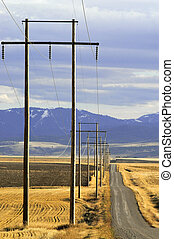 Power Lines - View of powerlines with road and sky in...