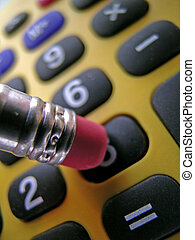 Crunching the numbers on the Calculator - Closeup of a...