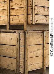 Stacked Crates - Two stacked crates sitting at loading dock...