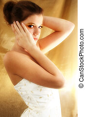 Beautiful Teen - Beautiful teen girl in white dress against...