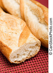 French baguettes - Closeup view of two french bread...