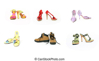 Six pairs shoes - Six pairs of shoes front and side view on...