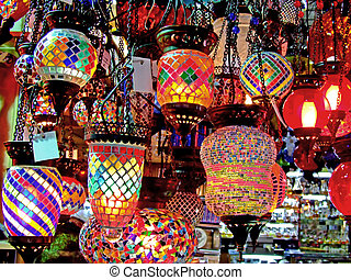 Chandelier store - Glass colorful lamp on Grand bazaar shop