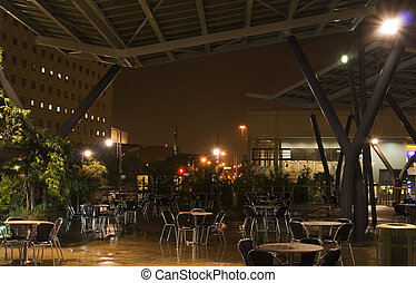 Outdoor Cafe At Night - view of outdoor cafe with sitting...