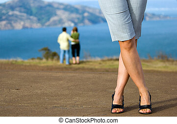 Modeling shoes - Young woman posing at San Fransico Bay