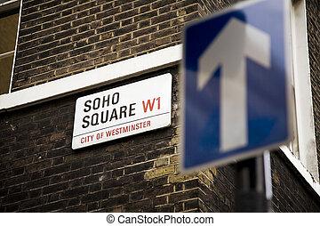 soho - detail of soho square\\\'s sign in london