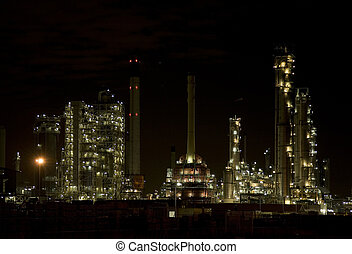 Refinery at night 1 - Nightshot of a refinery in Pernis,...